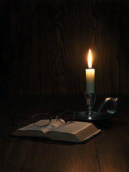 Old Bible, Bible, Candlelight, Glasses, Life, Old