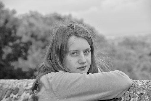 Girl, Portrait, Black And White Photo, Face, Person