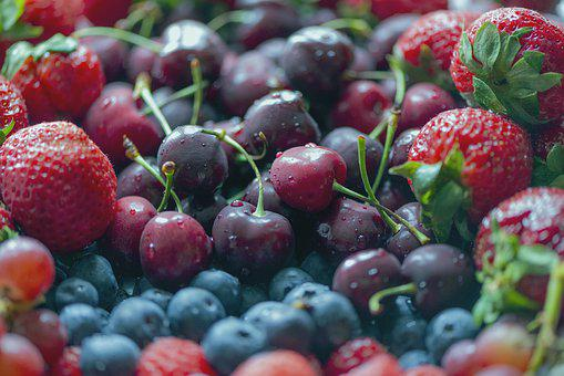 Strawberry, Blueberries, Cherries, Grapes, Fruits