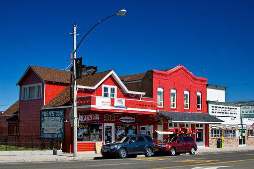 Usa, Bridgeport, California, House, Road, Sky, Blue