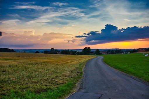 Landscape, Road, Sky, Away, Field, Sunset, Clouds