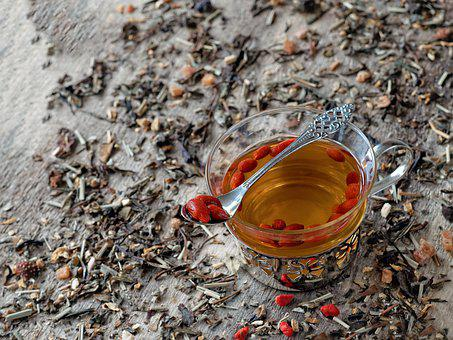 Hot Tea, Berries Soaked, Goji Berries, Berries, Cup
