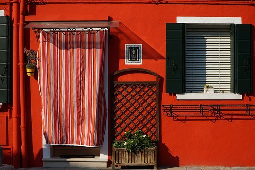 Venice, Burano, Red, House, Italy, Colorful, Building