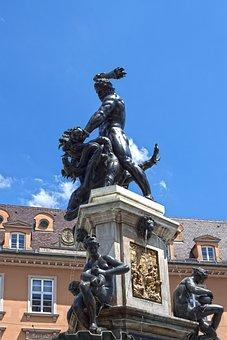 Hercules, Man, Force, Fountain, Dragon, Augsburg
