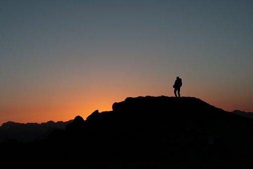 Sunrise, Beautiful, Mountain, Man, Hiking, Contours