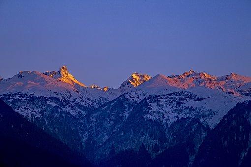 Mountains, Snow, Sun, Landscape, Nature, Winter