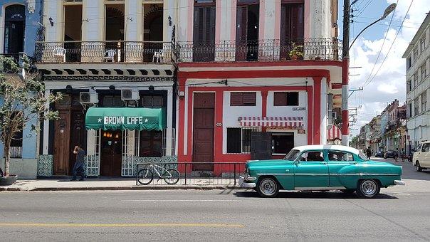 Cuba, Havana, City, Street, Oldcar, Photo, Car, Cafe