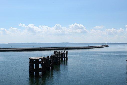Mole, Lighthouse, Sea, Port, Water, Clouds, Nature