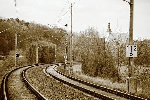 Monochrome, Track Bed, Gleise, Rails, Railway
