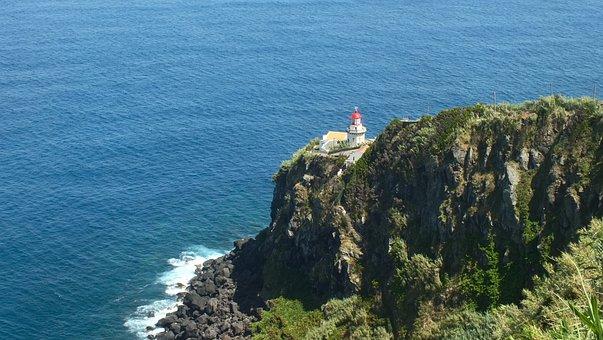 Azores, Coast, Lighthouse, Sea, Atlantic, Ocean, Shore