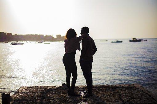 Sunset, Beach, Side, Youth, Sunrise, Sun, Romantic