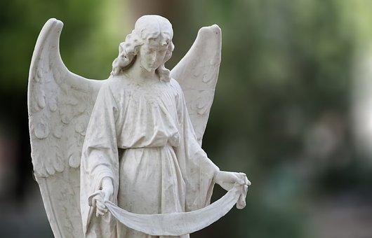 Angel, Statue, Cemetery, Augsburg, Sculpture, Wing