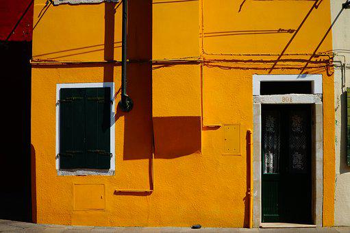 Burano, Venice, Yellow, Building, Pain, Colorful