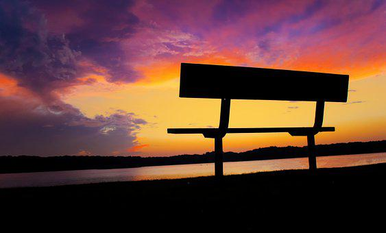 Sunset, Relax, Bench, Sit, Nature, Water, Relaxation