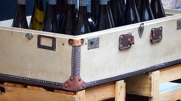 Luggage, Old, Wine Bottles