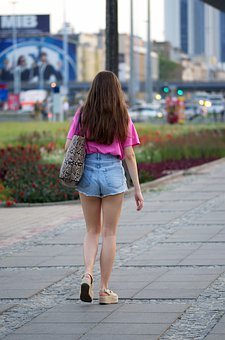 Girl, Young, Hair, Long, Sexy, Bag, Blouse, Jeans