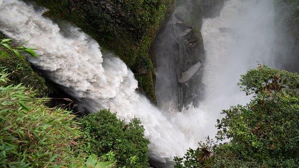 Ecuador, Banos, Waterfall, Force Of Nature, Water