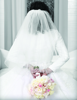 Bride, Wedding, Beautiful, Gown, Back Of Bride, Veil