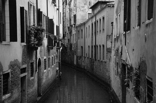 Venice, Canal, Black And White, Italy, Water, City