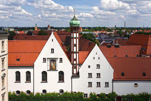 Augsburg, Town Hall View, Tower, Church, Monastery
