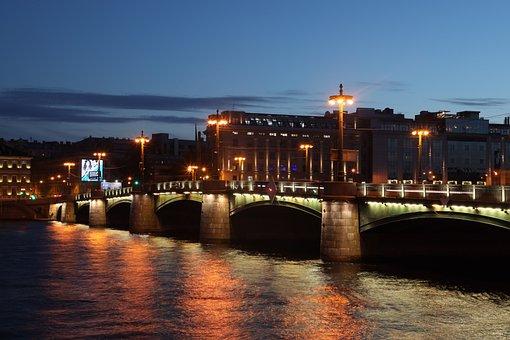 Night, Sky, Sunset, Landscape, Mood, City, River