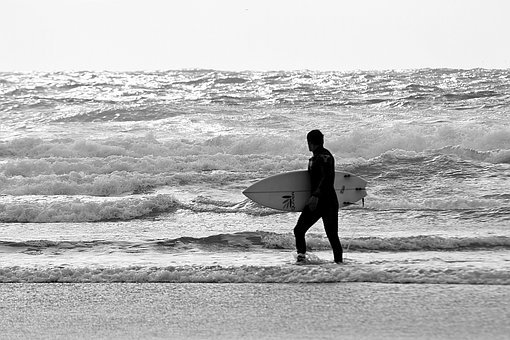 Surfer, Atlantic, Cornwall, Beach, Surf, Flood