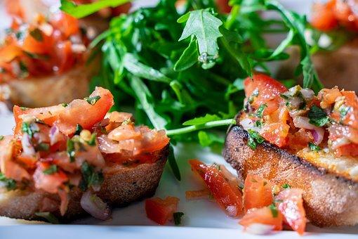 Bruschetta, Tomatoes, Food, Bread, Delicious, Eat