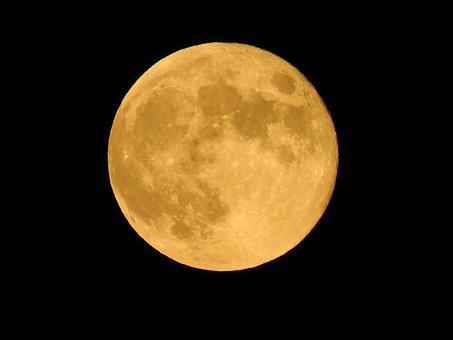 Full Moon, Orange, Before Midnight, Nature, Astronomy