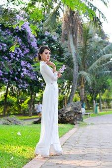 Beautiful, Lady, Girl, Young, Lotus, Vietnam, Gardens
