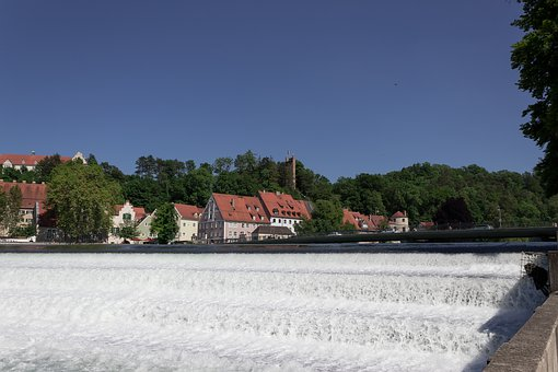 River, Barrages, Lech, Bridge, Houses, Architecture