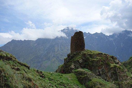Georgia, Landscape, Tower, Architecture, Mountain