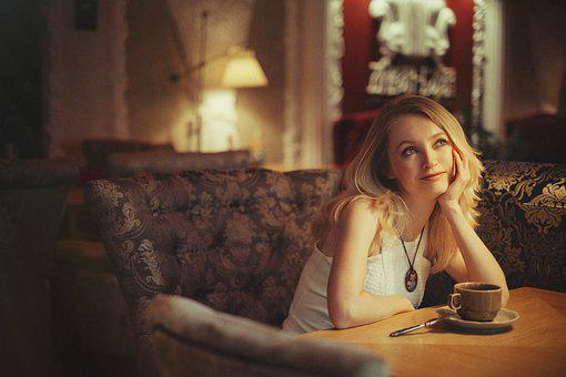 Girl, Blonde, Café, Bar, Woman, Portrait, Man, Person
