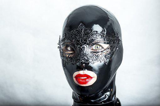 Mask, Hidden, Black, Latex, Girl, Woman, Fashion