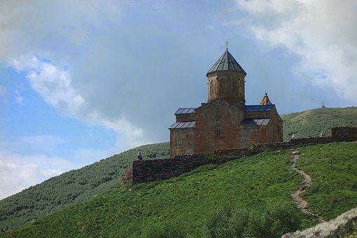 Georgia, Monastery, Religion, Landscape, Mountain