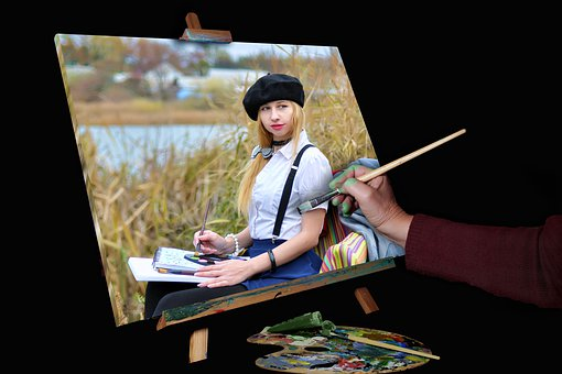 Painter, Table, Creation, Painting
