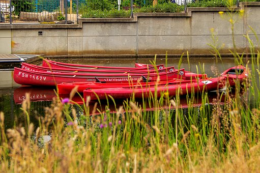 Leipzig, Canoeing, Red, Green, Meadow, Port