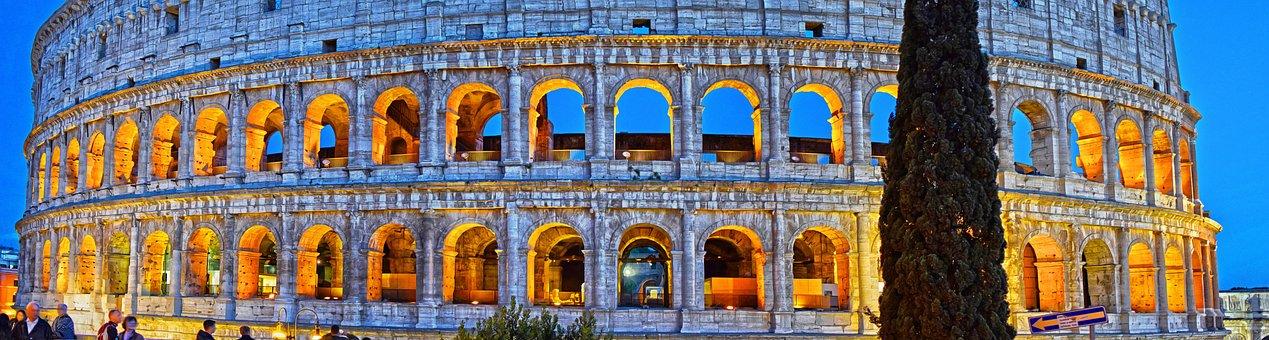 Rome, Colosseum, Italy, Roman, Night, City