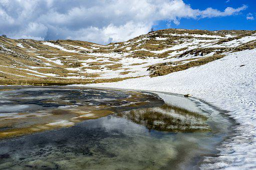 Lake, Water, Mountain, Nature, Ice, Snow, Sky, Cold