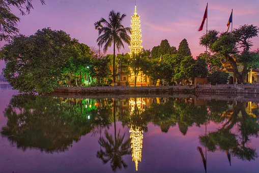 Temple, Vietnam, Sunsets, Afternoon, Lake, Sky
