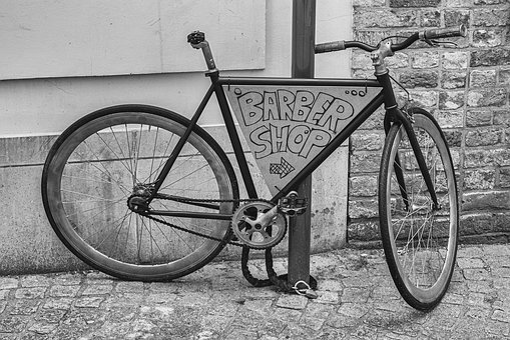 Bicycle, Black, White, Retro, Vintage, Barber