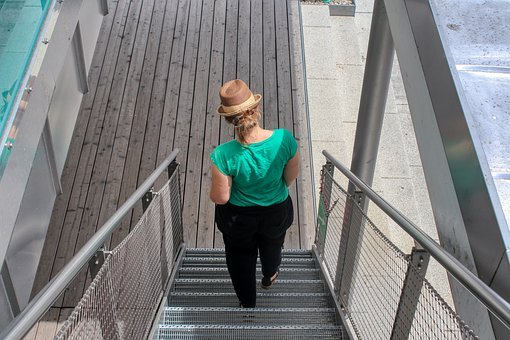Woman, Hat, Stairs, Girl, Human, Young, Adults