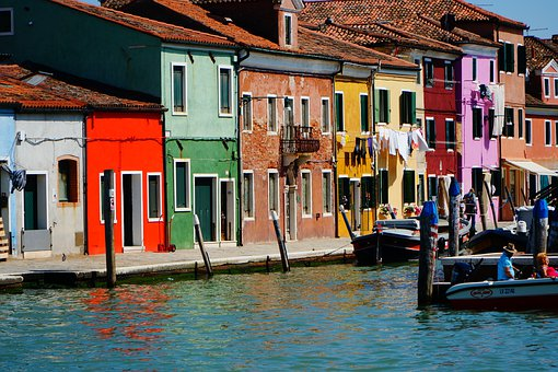 Venice, Burano, Colorful, Channel, House, Water, Facade