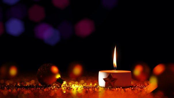 Xmas Ball, Candle Light, Christmas, Holidays