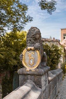 Lion, Statue, Shield, Stone, Bridge, Decoration, Art