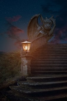 Dragon, Stairs, Dragon Stairs, Fantasy, Fairytale, Old
