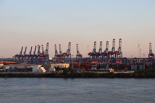 Port, Hamburg, Container, Elbe, Ship, Tanker, Export