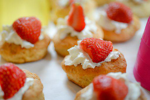 Strawberry, Scone, Treat, Cakes, High Tea, Cream