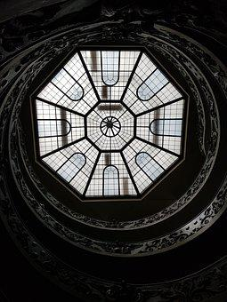 Vatican City, Museum, Ceiling, Stair