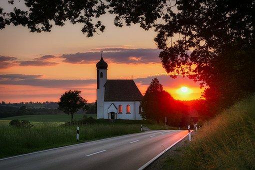 Sunset, Church, Chapel, Plenty Of Natural Light, Road