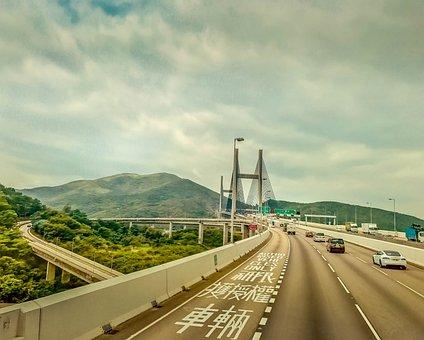 Bridge, Highway, Sky, Mountain, Road, Traffic, Concrete